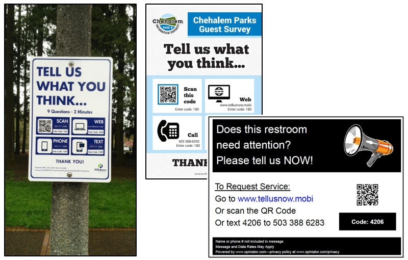 Parks requesting visitor feedback by cell phone