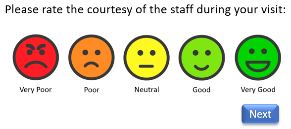 Smiley face feedback rating scale