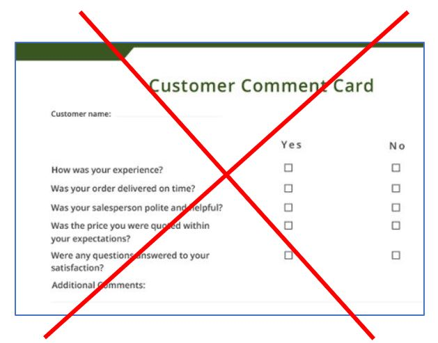 Restaurant Comment Card – A Bad Idea