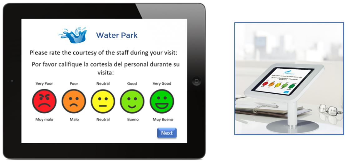 Visitor feedback using a tablet or touchscreen
