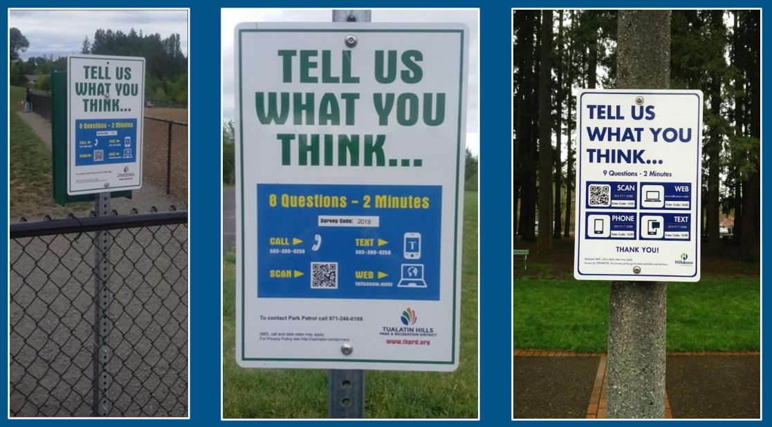 Outdoor signs to request feedback from park visitors