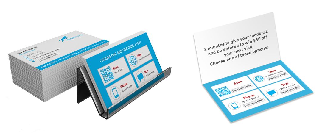 Business cards with customer feedback request