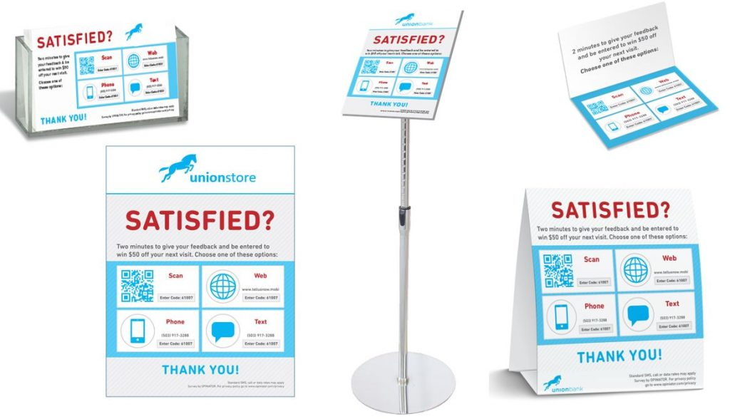 Requesting feedback signs in a retail store