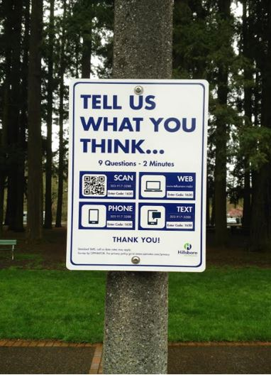 Outdoor Request for Feedback in a Park