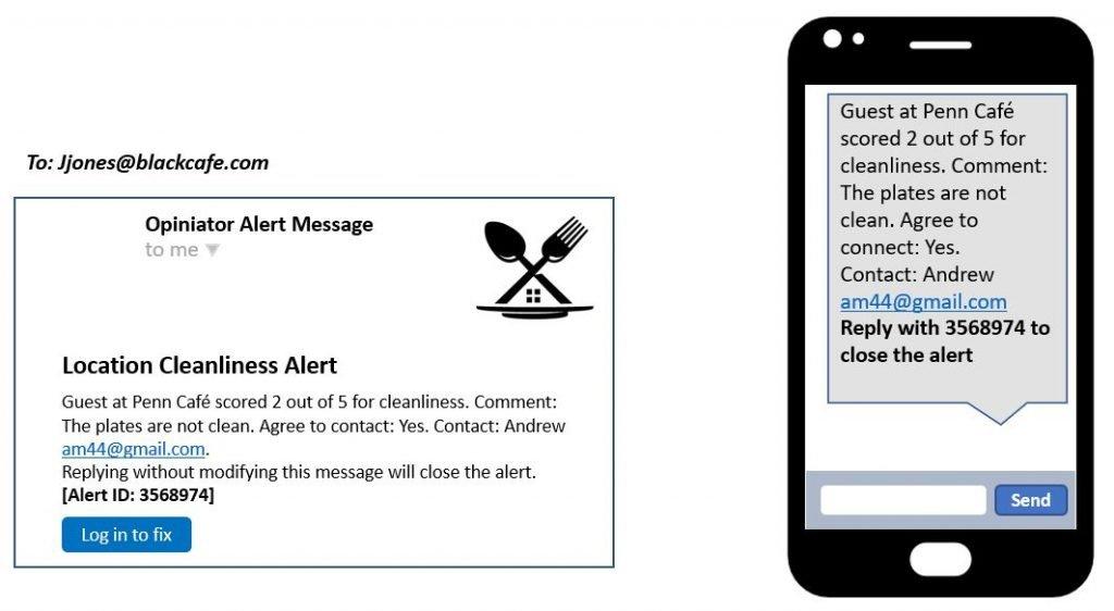 Customer feedback alert message