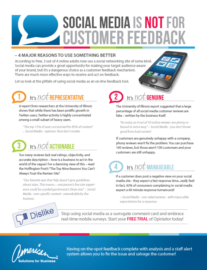 American Solutions Social Media is not for Customer Feedback