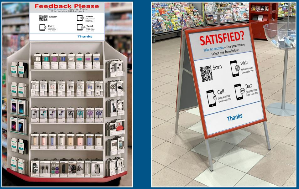 Request for in store shopper feedback signage