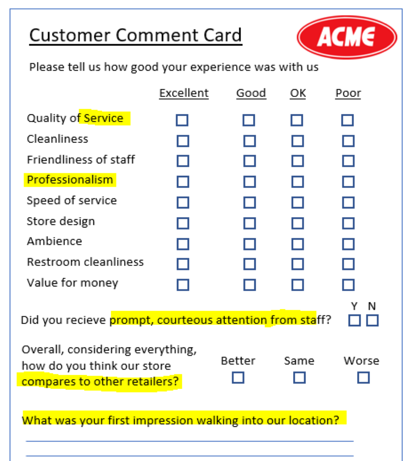 Bad comment card questions
