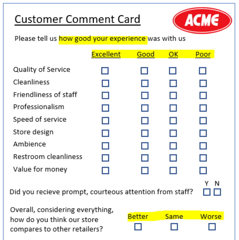Bad comment card rating scales