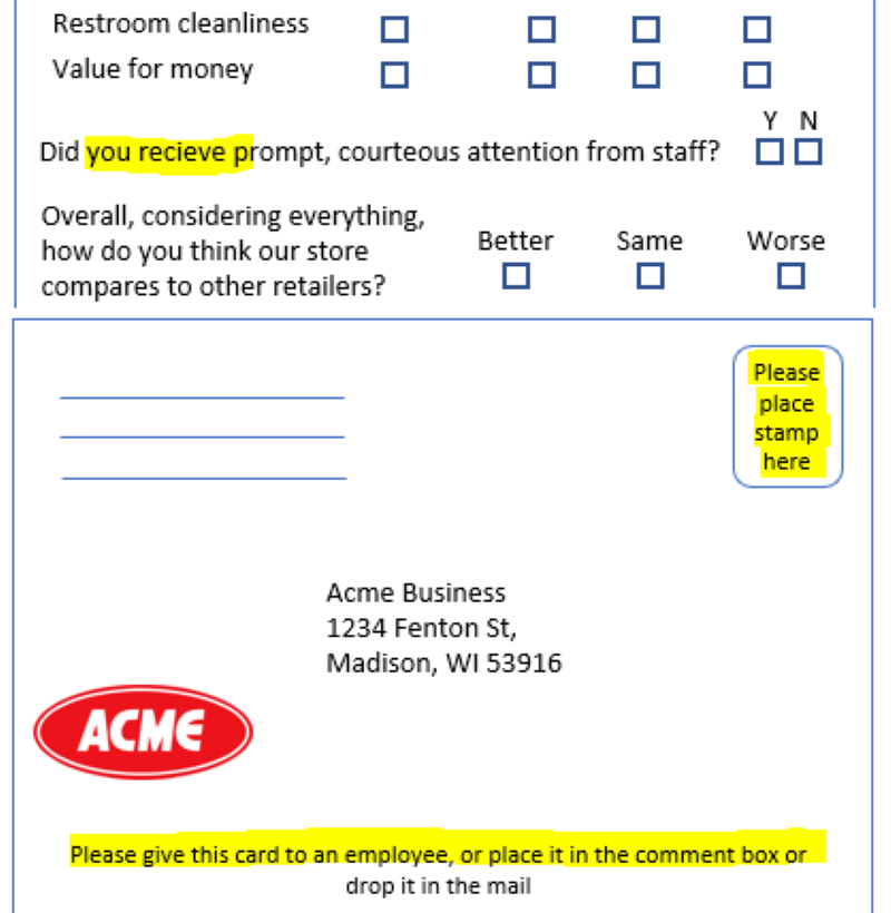 Comment card poor operational execution