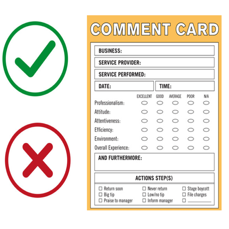 Comment Card advantages and disadvantages